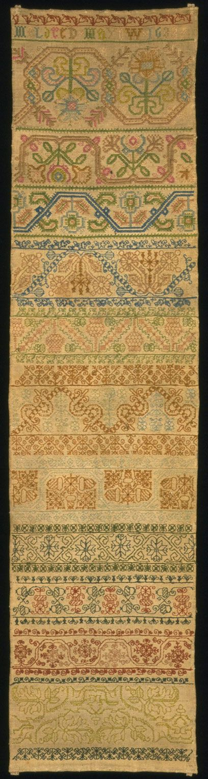Interesting article: A History of Stitched Samplers (this one: Mildred Mayow, 1633. Museum no. T.194-1927)