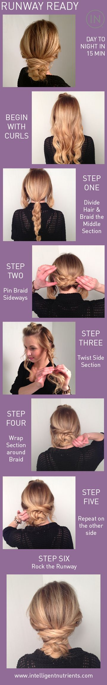 Super easy runway look for 2nd day hair. Ready in 15 min! **This looks SOOO easy bc my arms get tired trying to do side braids!!