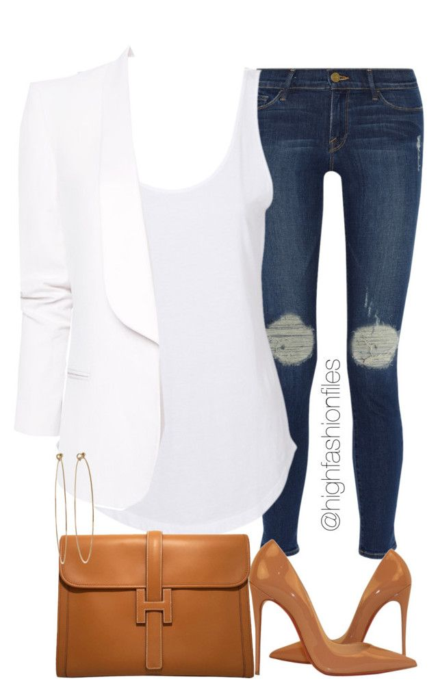 """""""Everyday Chic"""" by highfashionfiles ❤ liked on Polyvore featuring Frame Denim, Agent Ninetynine, Christian Louboutin, Hermès, MANGO, Dean Harris and Oscar de la Renta"""