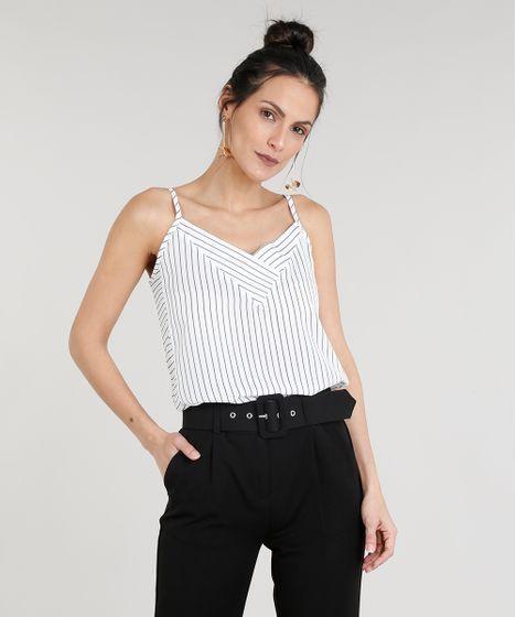 8fc1a028e9 Regata-Feminina-com-Estampa-Risca-de-Giz-Alcas-Finas-Decote-V-Off-White-9315955-Off White 1