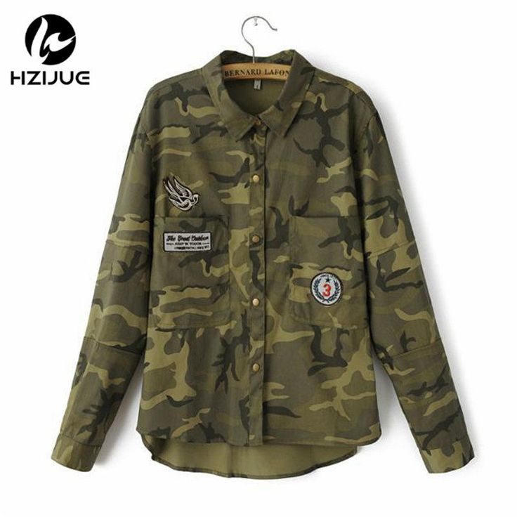 HZIJUE 17 Fashion Long Sleeve chaqueta militar Coat Women Green Military Jackets Slim Embroidered Women Jacket Blouses Coats