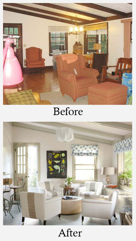 Living Room Makeovers Before And After Dark Stained Beams And Dull Colors Made This