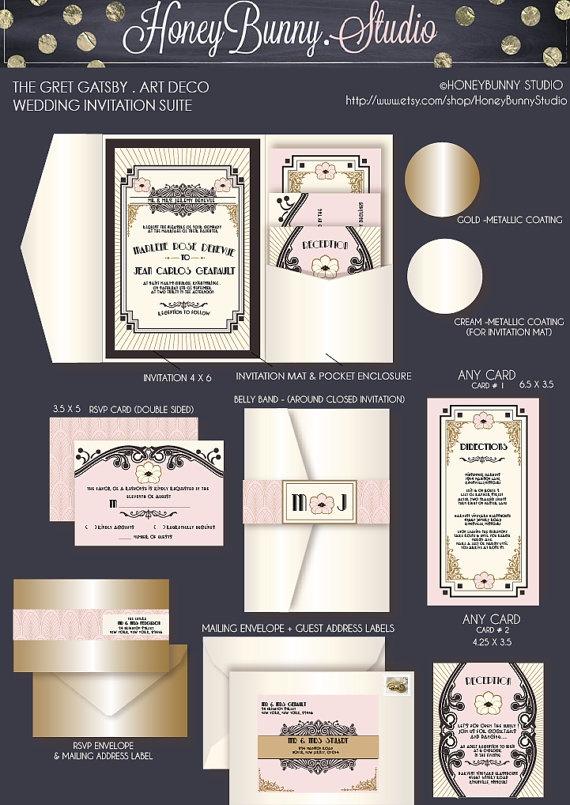 The Great Gatsby .Art Deco. Wedding Invitation suite. DEPOSIT to start Project. HoneyBunny Studio.