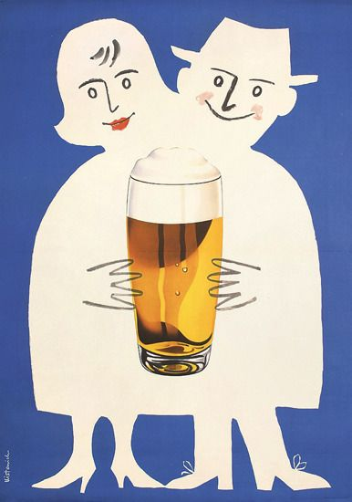 'Beer Couple' - a poster of a couple sharing a pint of beer (1958). Artwork by Reinhold Josef Kistenich.