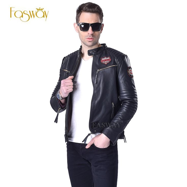 Factory Men's Leather Jackets Indiana Skulls Pattern Embroidery Genuine Cowhide…