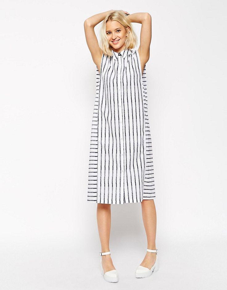 Изображение 4 из Платье-рубашка без рукавов в полоску ASOS WHITE Crayon