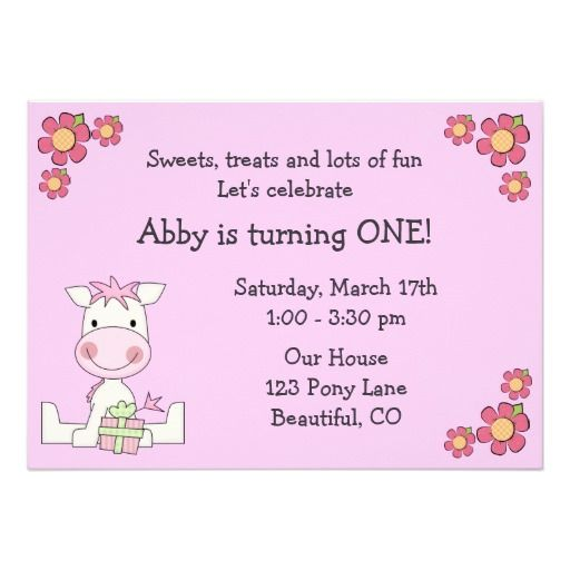 Cute Pony 1st Birthday Invitation for Girls