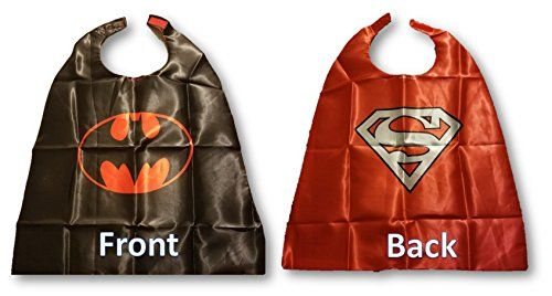 Double Print Superhero Costumes For Kids SET- Capes MasksStickers and Tattoos @ niftywarehouse.com #NiftyWarehouse #Superman #DC #Comics #ComicBooks