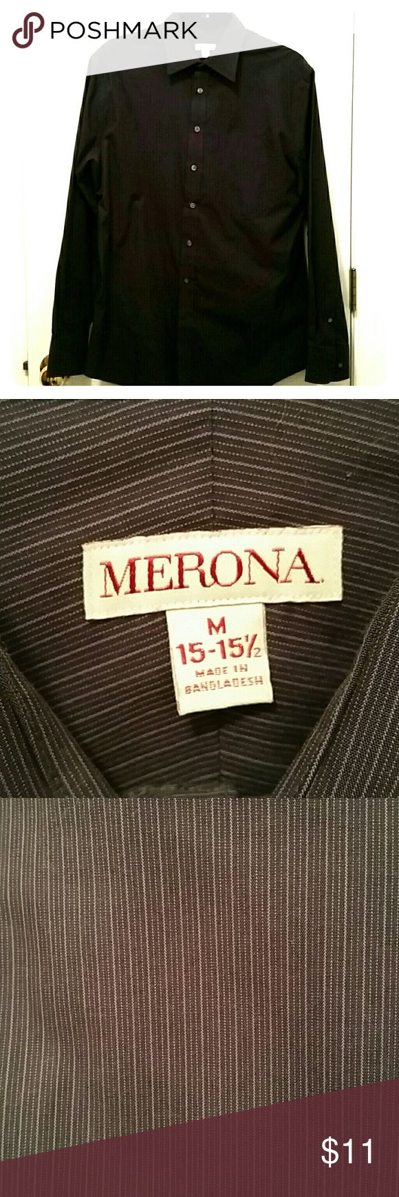 Men's Purple Dress Shirt Men's dark purple dress shirt.  Faint light purple stripes.  Great condition.  Worn only 2 or 3 times. Merona Shirts Dress Shirts