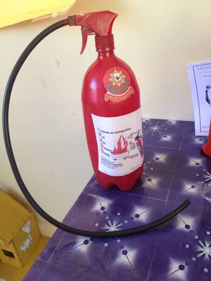 fire safety week -- 2 liter bottles with a recycled spray top and  a hose -- and it really works!  Cute for dramatic play!