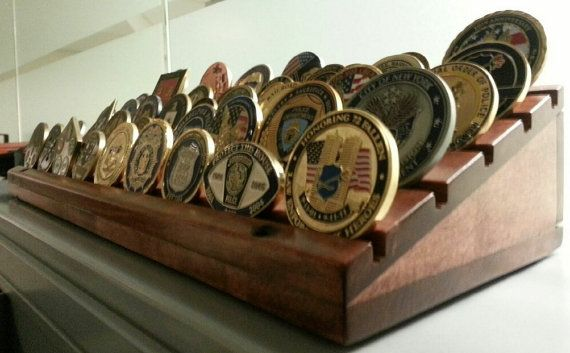 Challenge Coin Holder, Military Coin Holder, Coin Rack, Display Rack, Coin Collection, Pallet Wood, Rustic,  Police, Army, Navy, Air Force