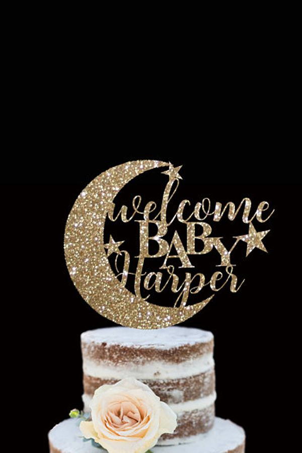 Ready to POP Gold Glitter Cake Topper Baby Shower New Party Boy Oh Baby Girl Welcome Home