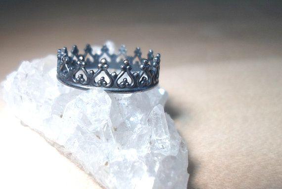 Kroon ring Sterling Zilver kroon prinses ring door AWildViolet