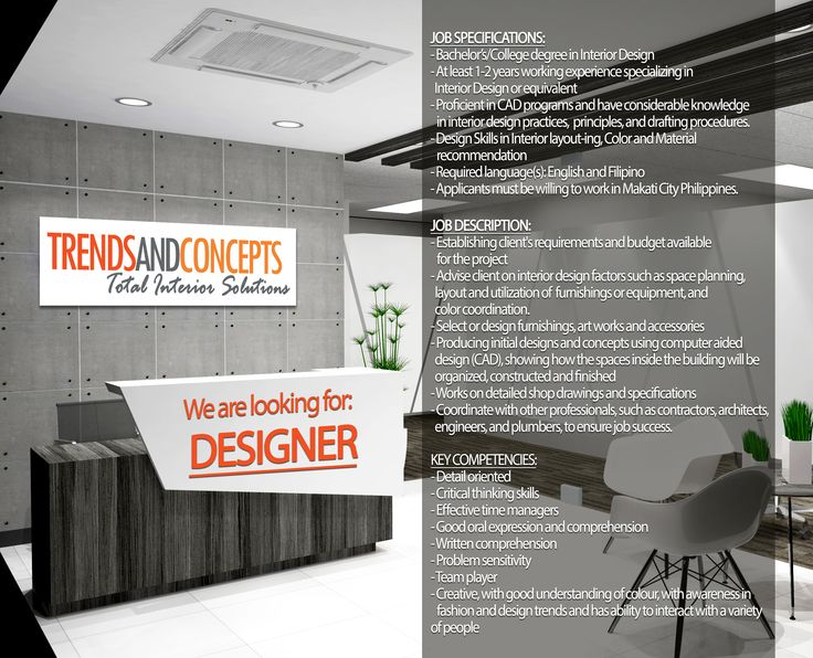 We Are Looking For DESIGNER JOB SPECIFICATIONS