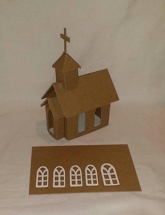 Petite Maison De Noel Cardboard CHURCH Assembled  Peinture   Décorez votre propre Putz