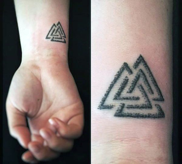 Cool Norse Mythology Mens Valknut Wrist Tattoo Designs Tattoo Symbols Men Tattoo Designs Men Viking Tattoos