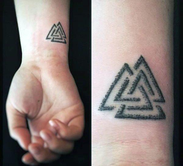 Cool Norse Mythology Mens Valknut Wrist Tattoo Designs Tattoo Designs Men Viking Tattoos Tattoo Symbols Men