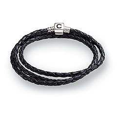 Black Leather Bracelet, L