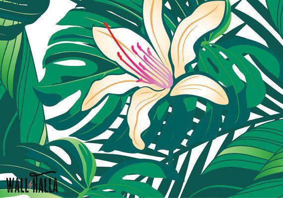 Foglie verdi tropicali Wallpaper Carta da parati di WallHalla