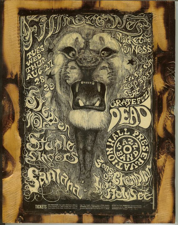Santana, Grateful Dead, Steppenwolf - Fillmore West  Concert Poster - Wooden Plaque