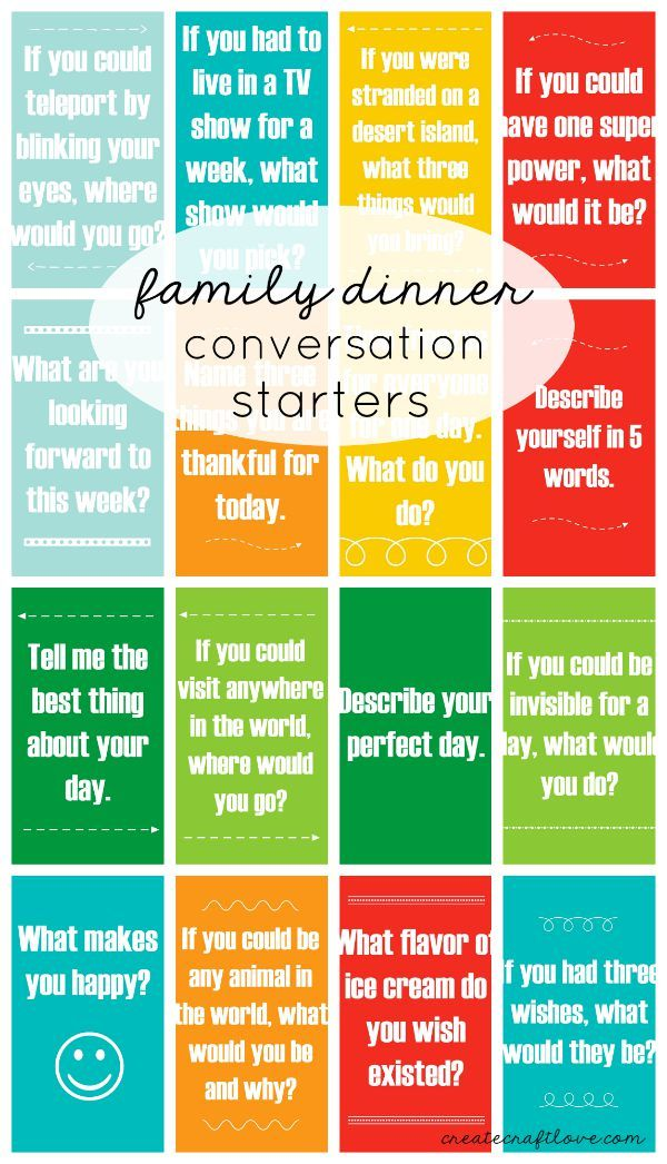 Put away the phones and engage at dinner with these Family Dinner Conversation Starters!