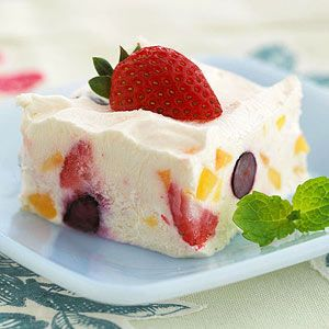 Using fat-free cheese and yogurt plus light dessert topping help keep this chilled fruit dessert recipe low in calories, carbs, and fat.