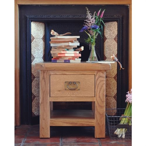 Lyon Oak End Table With Drawer