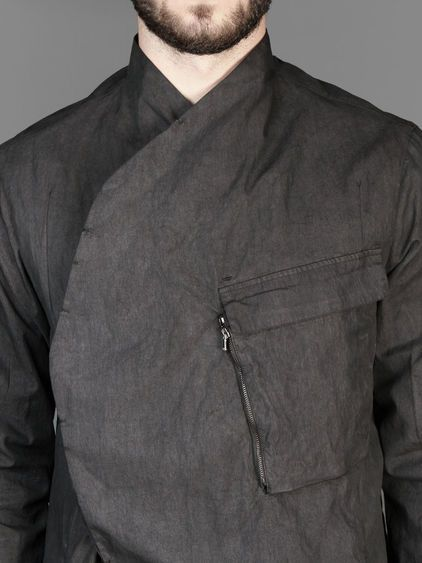 Lost&Found slim jacket with asymmetric buttoned front closure and zipped breast pocket #lostandfound