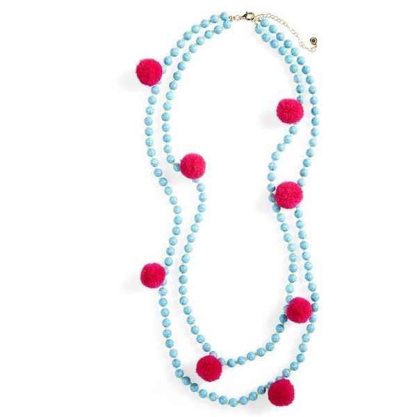 Women's Baublebar Grenada Double Strand Pompom Necklace found on Polyvore featuring jewelry, necklaces, turquoise, double strand necklace, green turquoise jewelry, pom pom necklace, beach jewelry and tri color jewelry