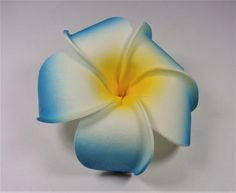 HAWAIIAN WEDDING ALOHA FLOWER BLUE  WHITE AND YELLOW PLUMERIA LUAU HAIR CLIP #Unbranded #Clips