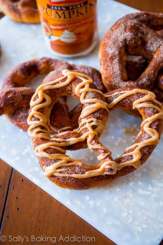 Pumpkin Praline Soft Pretzels in less than an hour. Recipe by sallysbakingaddiction.com