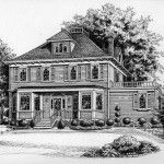 Custom house portrait of Victorian style home rendered in Pen & Ink. Created by Custom House Portraits by Richelle Flecke