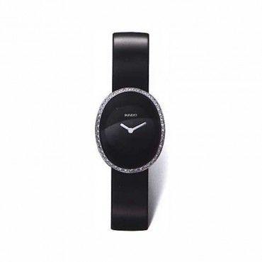 Γυναικείο μίνιμαλ ελβετικό quartz ρολόι RADO Esenza με μαύρο καντράν, μαύρο λουστρίνι & μπριγιάν   Ρολόγια RADO κοσμηματοπωλείο ΤΣΑΛΔΑΡΗΣ Χαλάνδρι #Rado #Esenza #μπριγιαν #λουρι #ρολοι