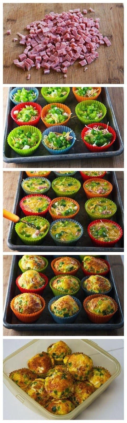 Egg Muffins with Ham, Cheese and Bell Peppers