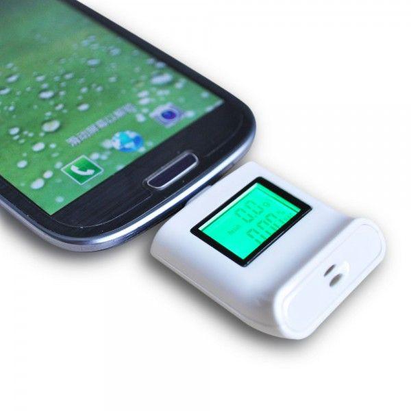 Mini ethylotest électronique smartphone micro USB alcootest blanc