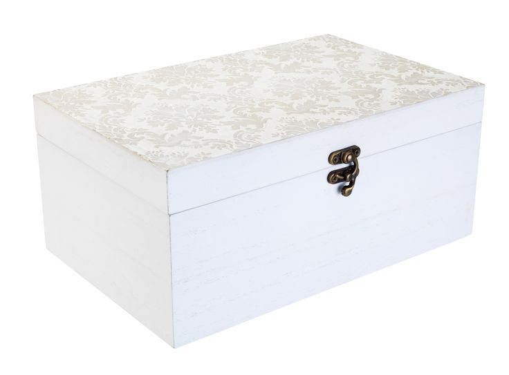 Keep your living space neat and tidy with this white-washed storage box topped with a vintage brocade pattern. Priced at £12