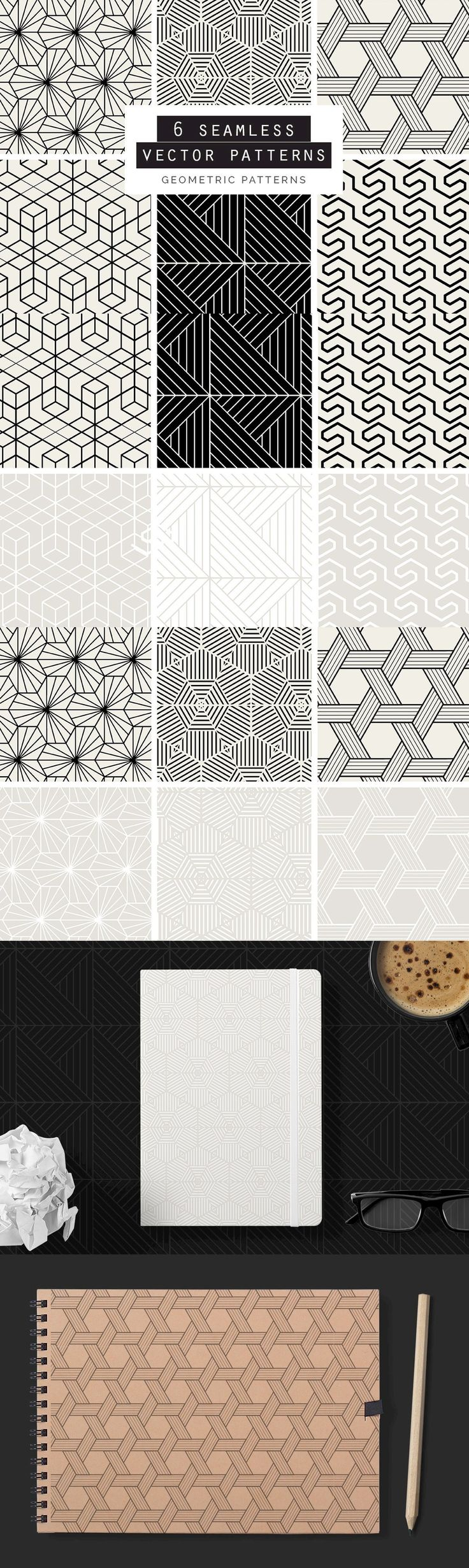 Geometric Seamless Vector Patterns - A great set of 6 Geometric Seamless Vector Patterns in both Black and ...