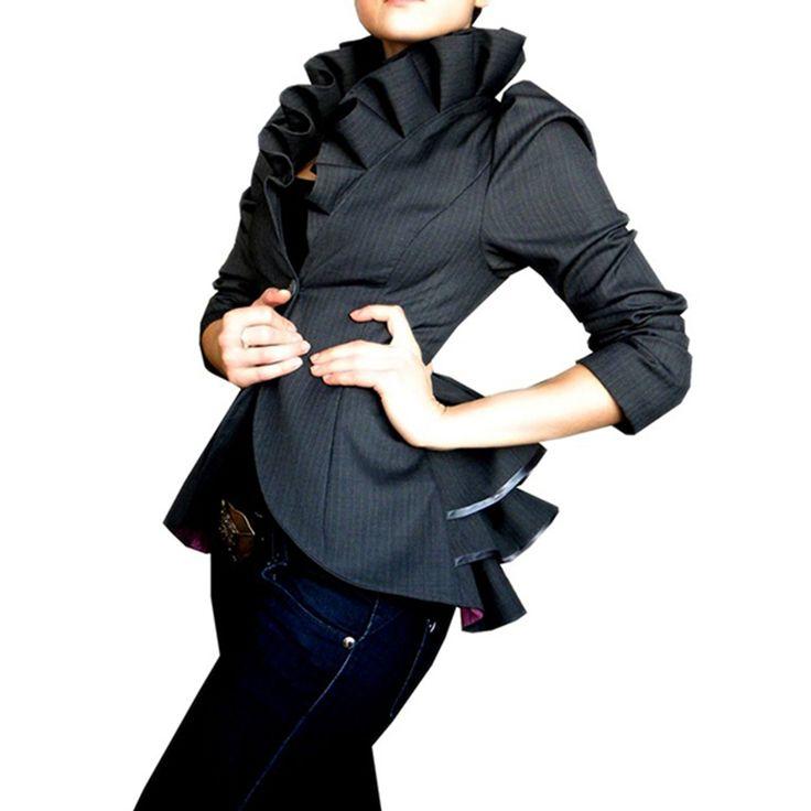Sisjuly женщины куртка оборками старинные серый баски пальто осень короткие мода топы черный готический женщин пальто ol стиль костюм куртки