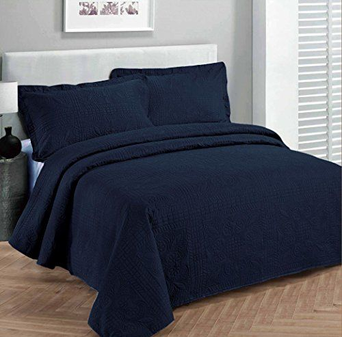 "Fancy Collection 3pc Luxury Bedspread Coverlet Embossed Bed Cover Solid Navy Blue New Over Size Full/Queen 100""x 106"" >>> FIND OUT @ http://www.ilikeboutique.com/boutique/fancy-collection-3pc-luxury-bedspread-coverlet-embossed-bed-cover-solid-navy-blue-new-over-size-fullqueen-100x-106/?a=8979"