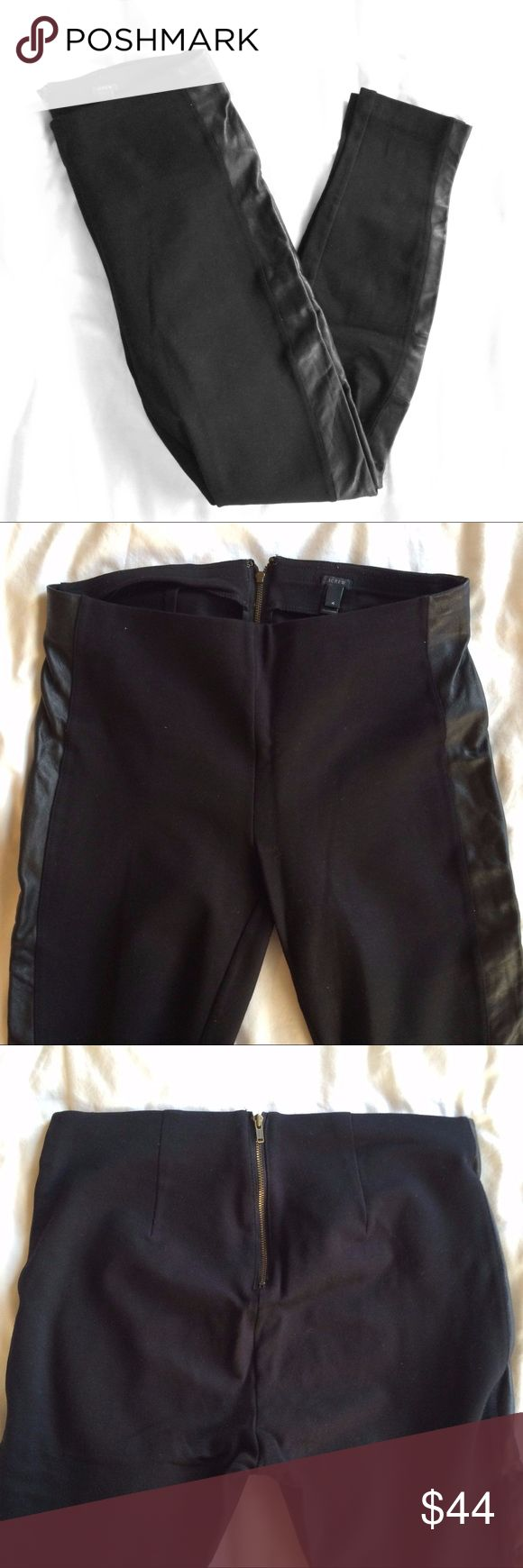 J Crew Leather Trim Tuxedo Ponte Pants Size 4 Barely worn black ponte stretch pants with real leather trim by J Crew. Ankle length. Exposed back zipper closure. Size 4. j crew Pants Leggings