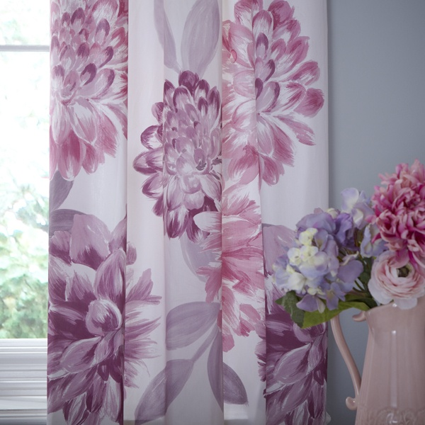 Plum Lucy Thermal Pencil Pleat Curtains