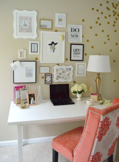 This office area is so beautiful!  I love the gold polka dots!  All white is my favorite!  @camelliaprep #camelliaprep www.camelliaprep.weebly.com
