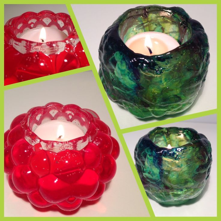Candle holders made with epoxy resin + vivid pigments + silicone mold