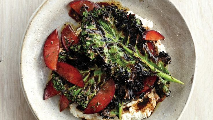 Grilled Kale Salad with Ricotta and Plums | Bon Appetit