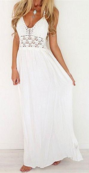 white plain condole belt hollow out v neck maxi dress