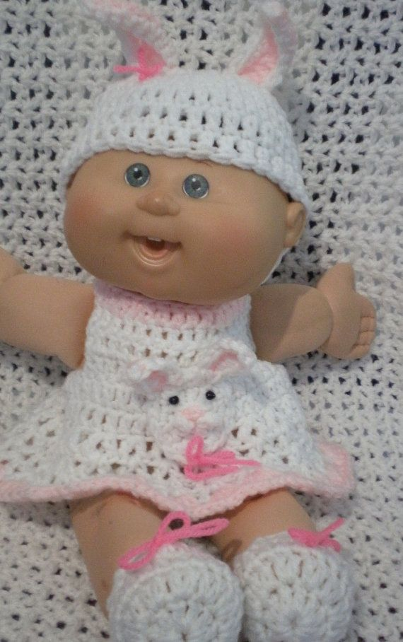 Inspiration - bunny outfit for Cabbage Patch doll - believe that elastic used at neckline to make the dress easy to put on and take off