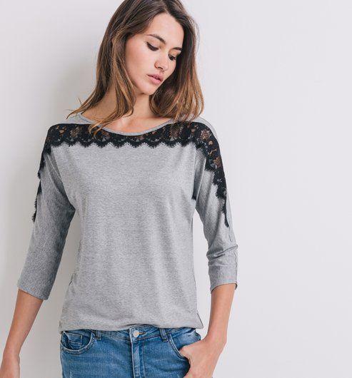 T-shirt détail dentelle Femme gris clair - Promod