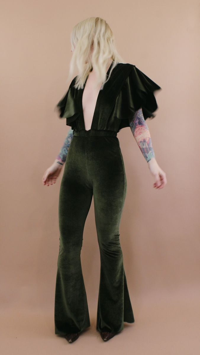 SUGARHIGH LOVESTONED <br> Penny Lane Ruffle Velvet Jumpsuit - product images  of