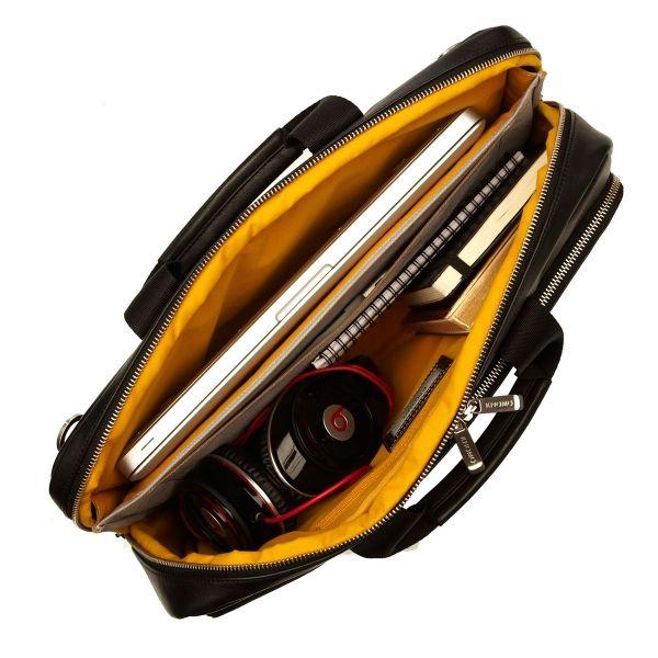 Newbury Schwarze Aktentasche aus Leder für 15'' Laptop von KNOMO: Offizielle Webseite | Laptoptasche für Herren aus Leder | Lederaktentasche in schwarz | Männertasche | Laptoptasche | Designed by KNOMO London