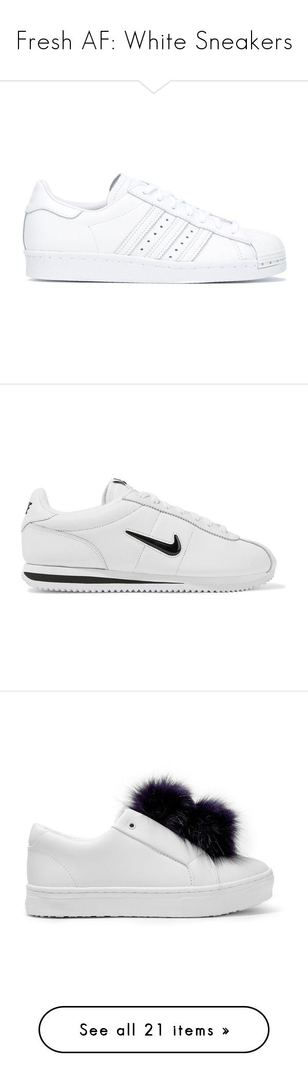 """""""Fresh AF: White Sneakers"""" by polyvore-editorial ❤ liked on Polyvore featuring whitesneakers, waystowear, shoes, sneakers, low cut sneakers, canvas sneakers shoes, white lace sneakers, lace sneakers, converse sneakers and white"""